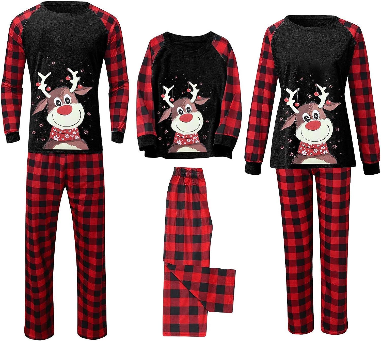 Goldweather Christmas Family Matching Pajamas Reindeer Printed Long Sleeve Tops + Plaid Pants Winter Xmas Pjs Sleepwear Sets