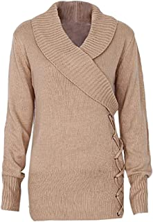 Women Long Sleeve V Neck Lapel Twist Knot Pullover Causal Side Lace Up Jumper Sweaters Tops