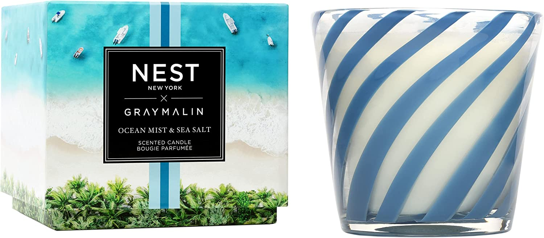 safety NEST Fragrances Ocean Mist Max 77% OFF Sea Salt 3-Wick Gray x Malin C