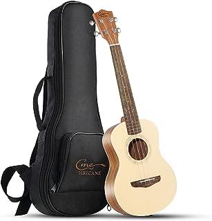 Hricane Soprano Ukulele 21 Inch Spruce Top Sapele Solid Wood Travel Ukulele Soprano with Strings Kit Gig Bag