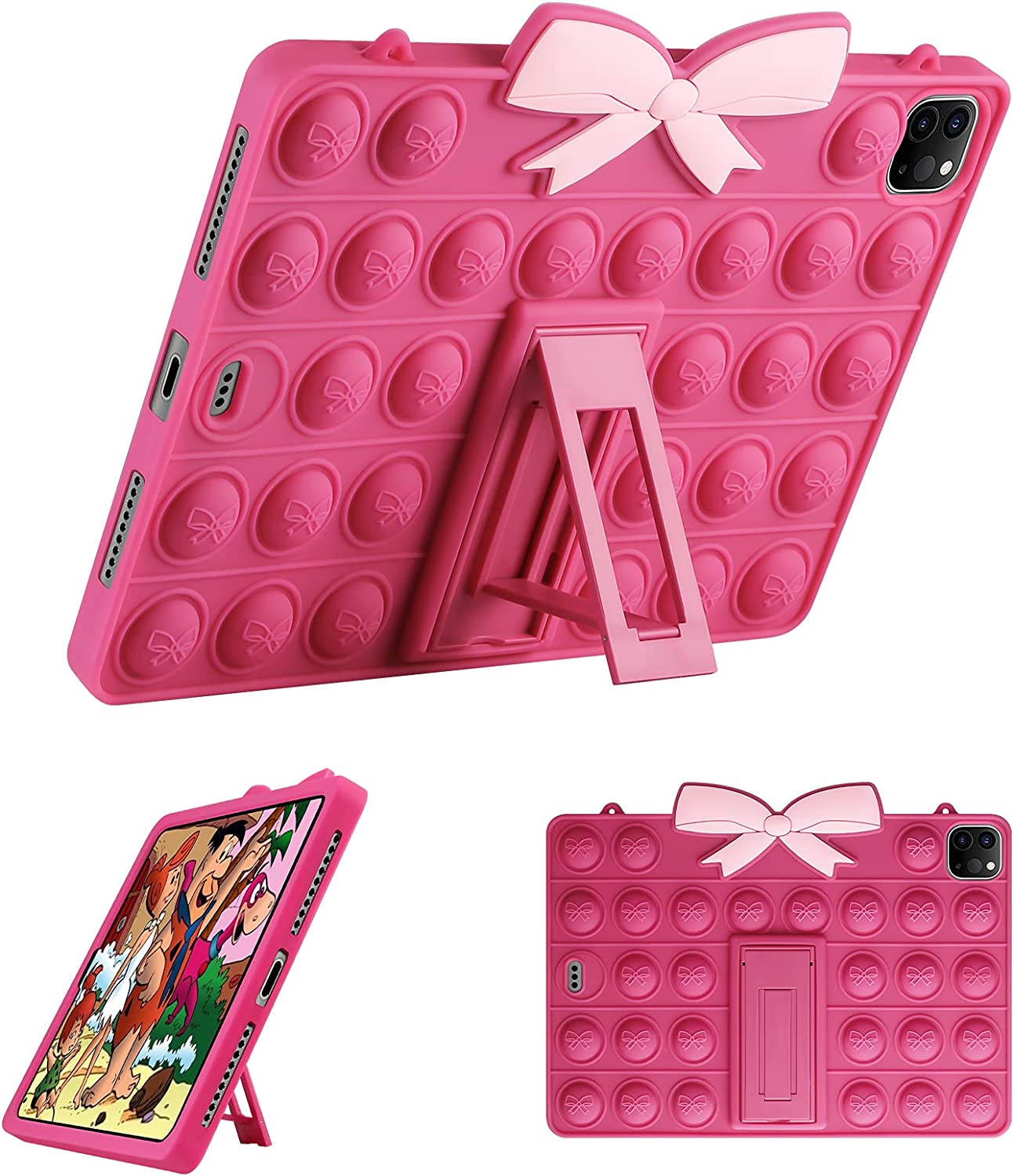 WESADN Case for iPad Pro 11 Case 2021/2020/2018 with Stand for Girls Silicone Fidget Cute Bubble Case Holder Tablet Cover for iPad Pro 11 inch Cover 3rd/2nd/1st Generation 2021/2020/2018 Rose Red