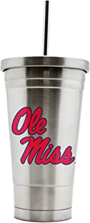 NCAA Mississippi Rebels 17oz Double Wall Stainless Steel Thermo Tumbler with Straw