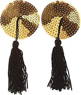 Ayliss Sequin Lingerie Tassel Breast Bra Stickers Nipple Covers-Gold