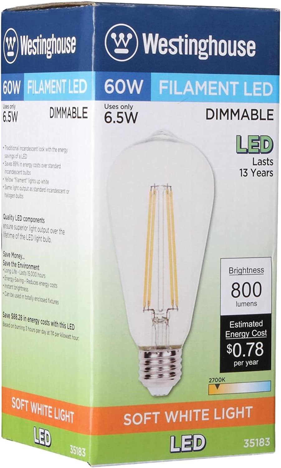Westinghouse Lighting 3518300 60 Watt Equivalent St20 Dimmable Clear Filament Led Light Bulb With Medium Base Amazon Com