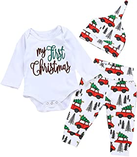 Toddler Baby Boy My First Christmas Romper Bodysuit Truck Tree Pants Hat 3Pcs Outfit Set