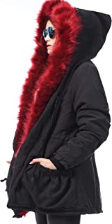 Women's Winter Thicken Faux Fur Hooded Plus Size Parka Jacket Coat Size S-3XL
