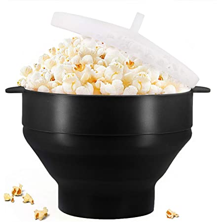 Original Microwaveable Silicone Popcorn Popper, BPA Free Collapsible Hot Air Microwave Popcorn Maker Bowl, Use In Microwave or Oven, Dishwasher Safe - Various Colors Available (Black)