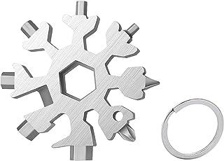 کارت ابزار برف ریزه 18 در 1 چند منظوره ، ابزار برف ریزه فولاد ضد زنگ در فضای باز مسافرتی قابل حمل برف ریزه بطری پیچ گوشتی برش برافروز EDC ابزار محیطی (نقره ای)