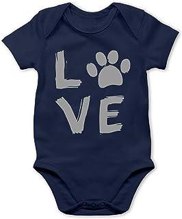 Shirtracer Tiermotive Baby - Love Pfotenabdruck - Baby Body Kurzarm für Jungen und Mädchen