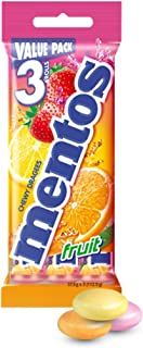MENTOS Fruit Candy Roll 3 Pack, Classic Mix of Fruity Flavours, 112.5g