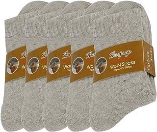 Pluto & Fox, Calcetines Térmicas Gruesos Cálidos De Lana Para Hombre Color Liso Invierno Para Calentar Los Pies O Para Trabajos Duros Pack de 5 Pares