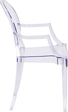 Flash Furniture 4 Pk. Ghost Chair with Arms in Transparent Crystal, White