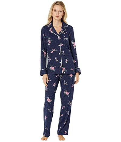 LAUREN Ralph Lauren Classic Knits Long Sleeve Notch Collar Long Pants Pajama Set (Navy Print) Women