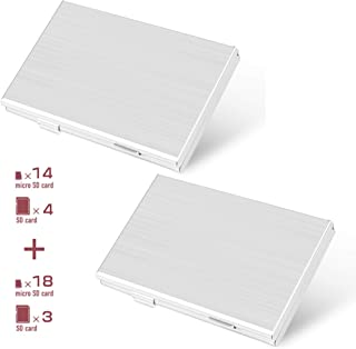 microSDケース SDケース収納ケース アルミメモリー カードケース (SDカード3枚、microSDカード18枚 + SDカード4枚、microSDカード14枚) 両面収納タイプ メモリーカードキャリーケース 2個入り