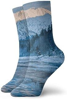 tyui7, Naturaleza Paisaje Montaña Árboles Bosque Calcetines de compresión antideslizantes Cosy Athletic 30cm Crew Calcetines para hombres, mujeres, niños