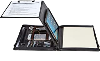 Professional Portfolio Business Organizer, Genuine Goatskin Leather Padfolio Case with Folding Center Panel, Clipboard for Letter Size (A4) Notepad … (11-inch iPad Pro, Black)