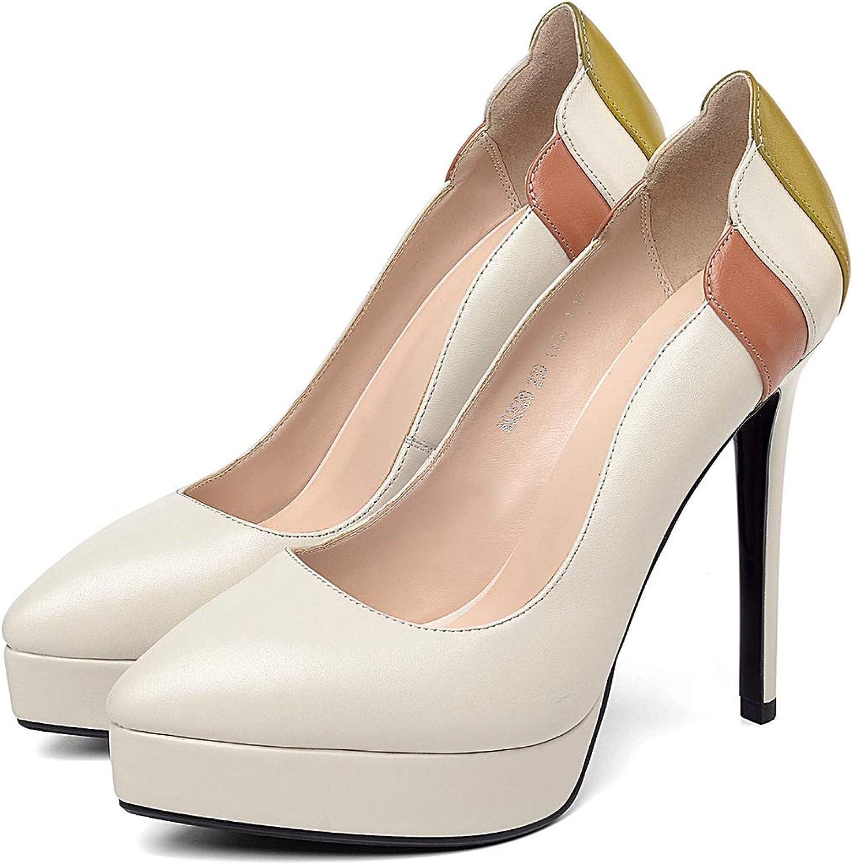 HOESCZS High Heels Frühling Neue Leder Wies Super Hohe Ferse Wasserdichte Plattform Stiletto Flachen Mund Einzelne Schuhe Weibliche Farbabstimmung