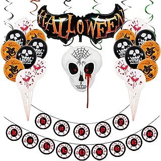 Halloween Balloons Banner Kit, Halloween Party Decorations Supplies Kits Large Happy Halloween Banner, Halloween Spider Balloon, Horror Eyes Balloon, Ghost Balloon, Halloween Swirl & Card
