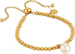 10mm Round Pearl on Gold Plated Steel Beaded Bracelet 6.5-11""