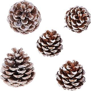 SUPVOX 松ぼっくりクリスマス松ぼっくりの飾り白先端松ぼっくり用ホリデーパーティークリスマスツリー装飾25ピース