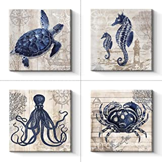 Pinetree Art 4 Panel Bathroom Wall Art Decor - Ocean Theme Canvas Prints Sea Animal Octopus Seahorse Crab Turtle Pictures Livingroom Posters - 12 x 12 x 4 pcs (12