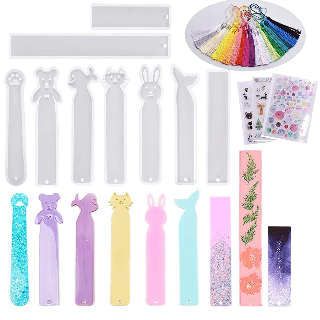 Handshop 9 PCS Silicone Bookmark Resin Molds and 20 PCS Silky Craft Tassels for Epoxy Resin, UV Resin, Making Bookmarks Pendant, Jewelry Perfect for DIY Craft