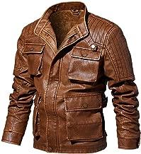 jin&Co Faux Leather Jacket for Men Autumn Winter Casual Jacket Multi-Pocket Thickening Warm Moto Biker Jacket
