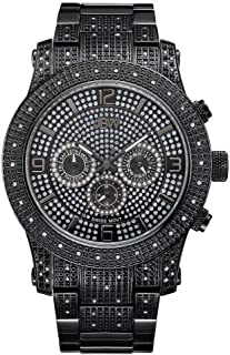 JBW Luxury Men's Lynx .80 Carat Diamond Wrist Watch with Stainless Steel Bracelet Black