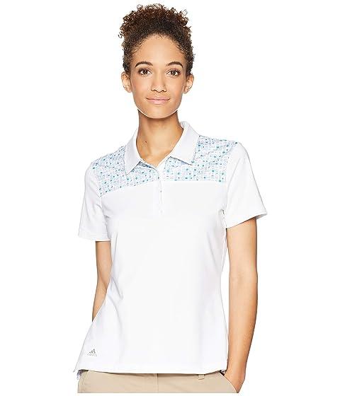 ADIDAS GOLF Ultimate Merch Short Sleeve Polo, White/Vision Blue