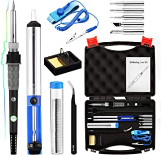 Soldering Iron Kit 60W,Adjustable Temperature Soldering Iron,ESD Wristband, 5 Solder Tips, Solder Sucker, Solder Wire, Soldering Iron, Tweezers with Tool Carry Case