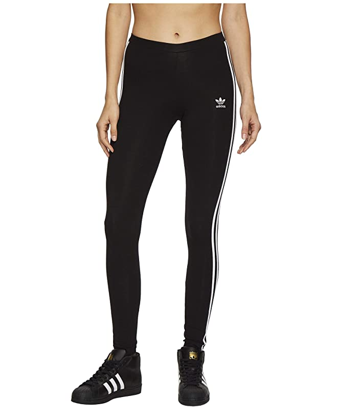 adidas Originals  3 Stripes Tights (Black) Womens Workout