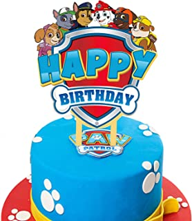 LILIPARTY Cartoon Acrylic Paw Dogs Patrol Happy Birthday Cake Topper, Kids Superpower Dogs Theme Birthday Party Decoration...