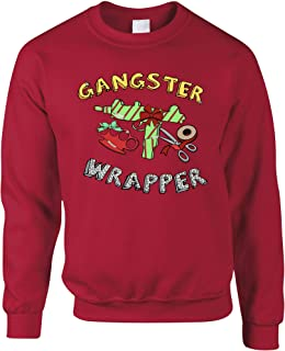 Tim And Ted Novelty Christmas Jumper Gangster Wrapper Xmas Pun - (Christmas Red/Large)