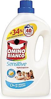 Omino Bianco - Detergente Lavadora Líquido Sensitive, Detergente Hipoalergénico, Sin Alérgenos, Sin Colorantes, 40 Dosis, ...