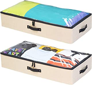 storageLAB Underbed Storage Containers - 2-Pack, 33x17x6in - Woven fabric with Plastic Structure (Straw)