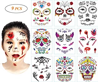 9 PCS Halloween Face Tattoo Stickers Sugar Skull Temporary Tattoos Day of the Dead Parties Makeup Supplies with Black Web, Red Rose, Scar, Blood, Floral Design for Halloween Parties, Masquerade