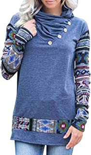 Chunoy Women's Casual Long Sleeve Aztec Floral Printed Pullover Sweatshirt Tops with Button