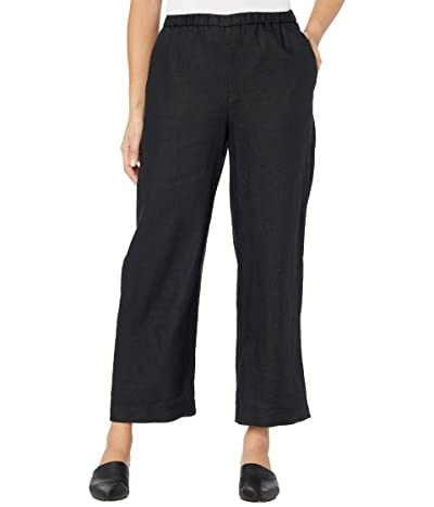 Eileen Fisher Organic Linen Ankle Length Pants (Black) Women