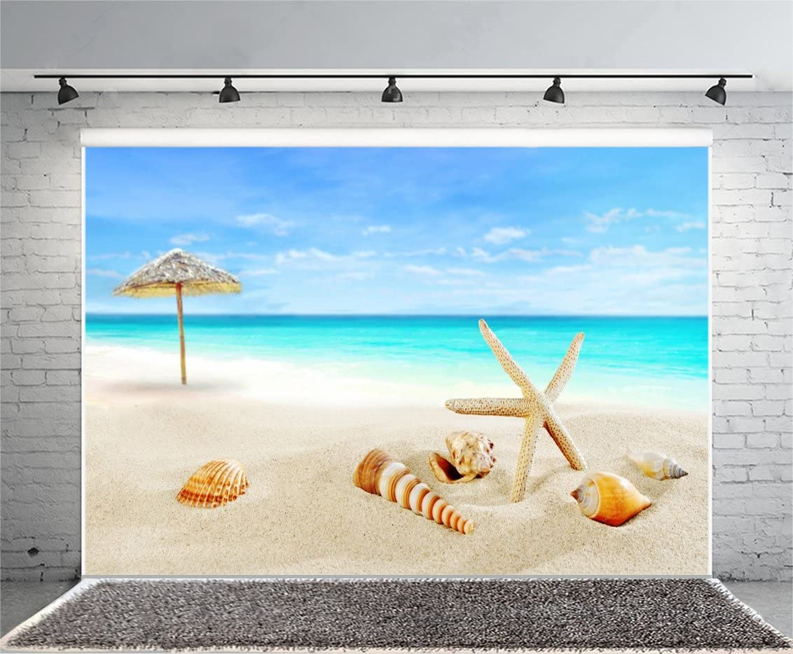 Seashells 10x15 FT Photo Backdrops,Summer View Watercolors Coconut Palm Trees and Splashes Hiding Starfishes Print Background for Photography Kids Adult Photo Booth Video Shoot Vinyl Studio Props