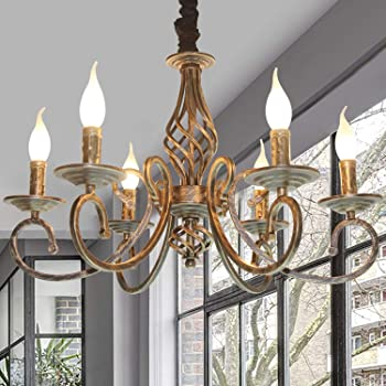 Ganeed Rustic 6-Light Chandeliers, French Country Vintage Chandelier, Metal  in Antique Bronze Pendant Chandelier, Pendant Light Fixture for Island  Kitchen Farmhouse Dining Room Living Room - - Amazon.com