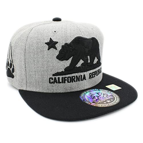 Embroidered California Republic with Bear Claw Scratch Snapback Cap 71cbc39e6794