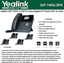 Yealink [5-Pack] T40G IP Phone, 3 Lines. 2.3-Inch Graphical LCD. Dual-Port Gigabit Ethernet, 802.3af PoE, Power Adapter Not Included (SIP-T40G-5)