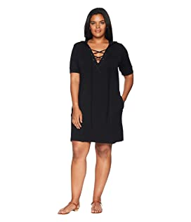 Plus Size Bailey Hooded Lace-Up Tunic
