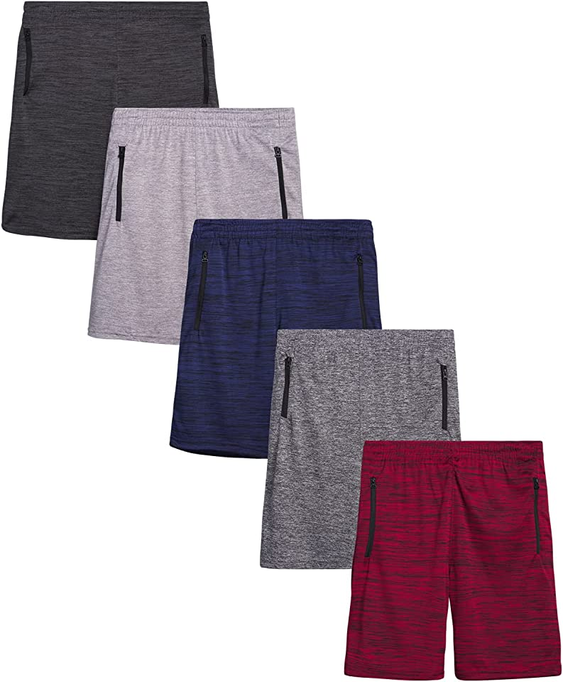 Tuff Guys Boys' Athletic Shorts - Active Performance Basketball Shorts with Zipper Pockets (5 Pack)