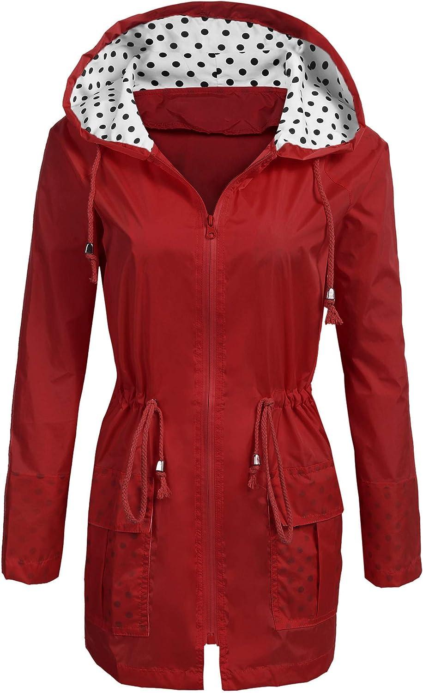 Soteer Rain Jacket Women's Super intense SALE Waterproof Li Las Vegas Mall with Raincoat Hood