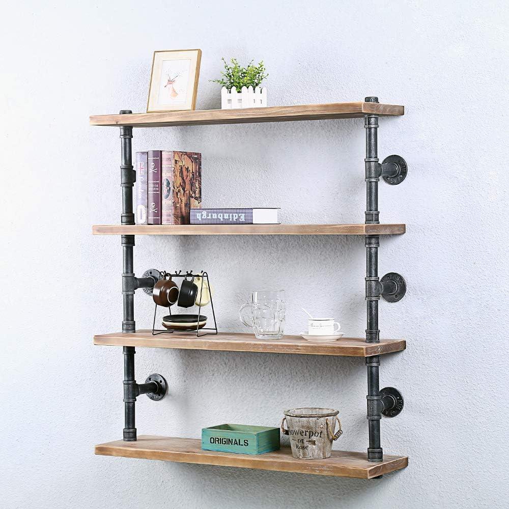 Buy Industrial Pipe Shelf Wall Mounted,20 Tier Rustic Metal ...