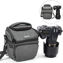 Zecti Camera Case Bag, Waterproof Medium Retractable Camera Equipment Bag with Rain Cover for Nikon, Canon, Sony, Fuji Instax, DSLR, Mirrorless Cameras and Lenses- Dark Grey
