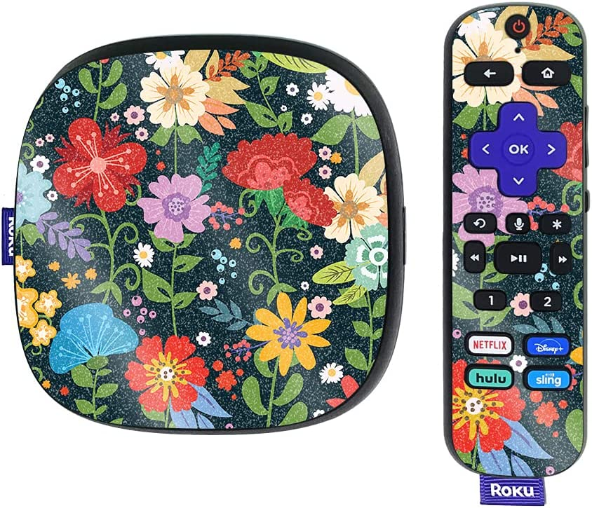 MightySkins Glossy Glitter Skin Compatible with Roku Ultra HDR 4K Streaming Media Player (2020) - Cartoon Bloom | Protective, Durable High-Gloss Glitter Finish | Easy to Apply | Made in The USA