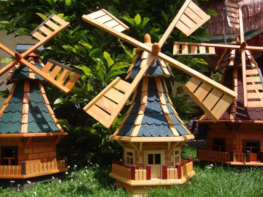 kwmb 100ms wmb100at Molino de viento para jardín, Windmühlen Jardín, 1 m grande, con + 2 x Luz solar, betún de madera maciza, madera de madera maciza para jardín y terraza Terraza