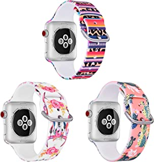 TOROTOP Newest Bands Compatible with Apple Watch 42mm 44mm, 3 Pack Sport Silicone Fadeless Floral Pattern Printed Replacement Bands for iWatch (Pink Cactus,Stripes Cheetah,Flower Cow Skull)